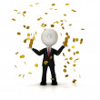 Businessman in the rain of gold coin, clipping path included — Stock Photo