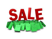 Green shopping bag on sale promotion, clipping path included — 图库照片