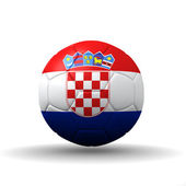 Republic of Croatia flag textured on soccer ball , clipping path included — Stock Photo