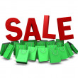 Green shopping bag on sale promotion, clipping path included — Stock Photo #38078125