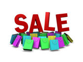 Various color of shopping bag on sale promotion, clipping path i — Stock Photo