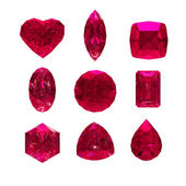 Group of ruby shape with clipping path — Stock Photo