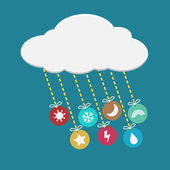 Weather icon hanging from cloud — Vector de stock