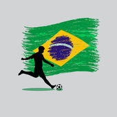 Soccer Player action with Brazil flag on background — Stock Vector