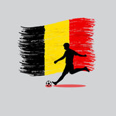 Soccer Player action with Kingdom of Belgium flag on background — Stock Vector