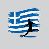 Soccer Player action with Hellenic Republic flag on background — Vector de stock