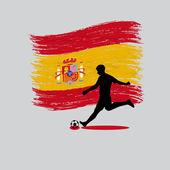 Voetbal speler actie Koninkrijk Spanje vlag op achtergrond — Stockvector