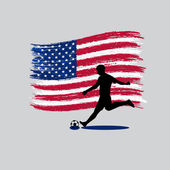 Soccer Player action with  United States of America flag on back — Stock Vector