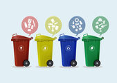 Contenedores de diferentes colores con ruedas con icono de residuos — Vector de stock