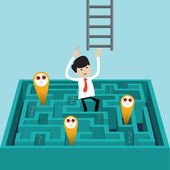Businessman finds another way to exit over labyrinth — Stock Vector