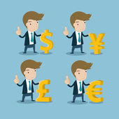Businessman with major currency symbols — Stock Vector