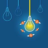 Winged money flies around  glowing light bulb — Stock Vector