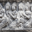 The sculpture on temple wall in Thailand which open for public — Stock Photo #34261003