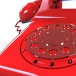 Red retro telephone 3d — Stock Photo