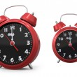 Red old style alarm clock 3d — Stock fotografie