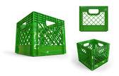 Krat kunststof groene geïsoleerde 3d — Stockfoto