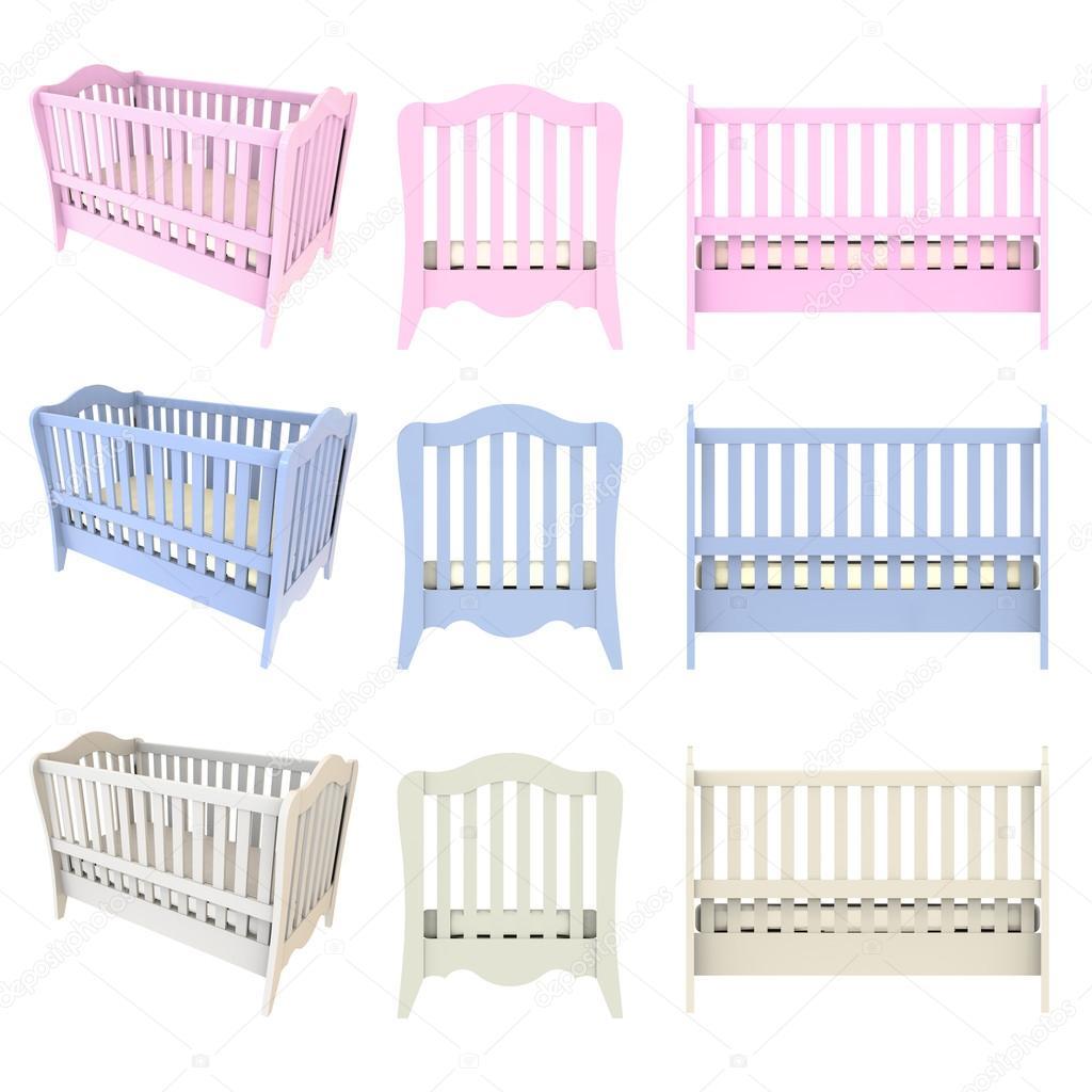 De madeira do bebê berço berço cama branco azul e rosa isolado no  #3D588E 1024x1024