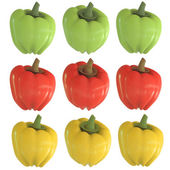 Pepper bell green red yellow isolated on white background 3d — Stock Photo