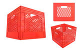 Crate plastic red container isolated on white background — Stock Photo