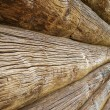Stock Photo: Beautiful old wooden log house wall texture