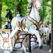 Brightly painted old carousel horse — Stock Photo