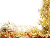 Christmas frame of shining golden tinsel — Stock Photo