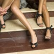 Elegant models legs with fashion shoes — Stock Photo