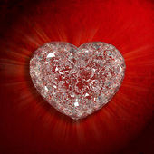 Diamonds heart shaped gemstone isolated on red velvet background — Stock Photo
