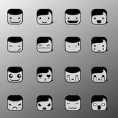 Simple emotion face symbols — Stock Vector