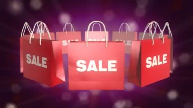 Red SALE Shopping Bag on twinkle background — Stock Video