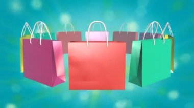 Colorful Shopping Bag on twinkle background — Stock Video