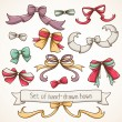 Set of hand-drawn ribbon bows. — ストックベクタ