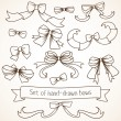 Set of hand drawn bows. — Stock Vector