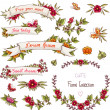 Labels, ribbons, hearts, flowers, leaves, wreaths. — Stock Vector
