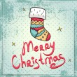 Christmas greeting card with Christmas stocking. Bright and cute illustration. Vector file is easy to change colors and edit. — Stok Vektör