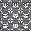 Rabbit skull and cross bones seamless pattern on dark gray strips background — Stock Vector