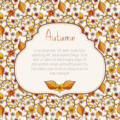 Autumn background with leaves and flowers. — Stock Vector