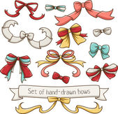 Set of hand drawn vector bows for holidays and events — Stock Vector