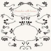 Elegant floral elements with branches and leaves. — Wektor stockowy