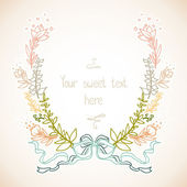 Floral frame with ribbon. — Stock Vector