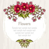Template with flowers. Card with bright flowers and leaves composition. — Stock Vector