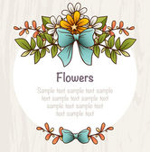 Card template with bright flowers and leaves composition. — Stock Vector