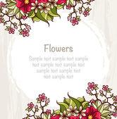 Vorlage mit Blumen. Karte mit hellen Blüten und Blätter Zusammensetzung. — Stockvektor