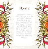 Szablon karty z jasnych kwiatów, liści i wstążki. — Wektor stockowy