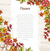 Card template with bright flowers, leaves and ribbons. — Stock Vector