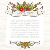 Modello con fiori e nastri. — Vettoriale Stock