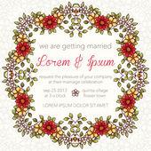 προσκλητήριο γάμου με floral στεφάνι — Διανυσματικό Αρχείο