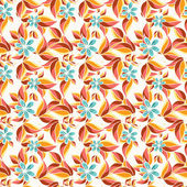 Seamless pattern with red autumn leaves and blue flowers. — Stock Vector