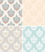 Set of damask seamless patterns with Indian style shapes. — Stock Vector