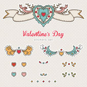 Set of Valentine's day stickers. Elements of romantic hearts. — Stock Vector